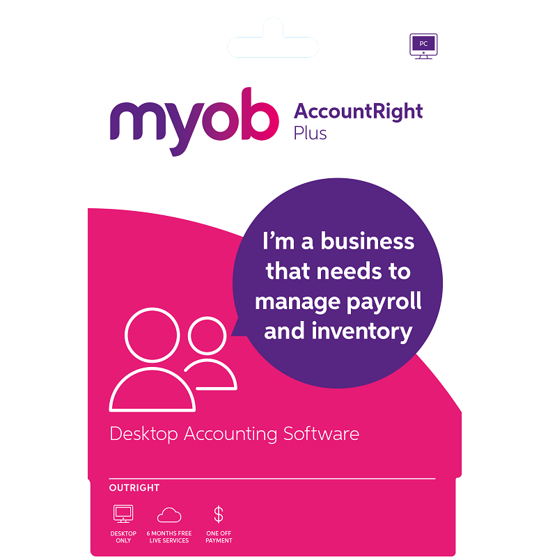 MYOB Account Right Plus Outright MPFUL-RET-AU Email Key