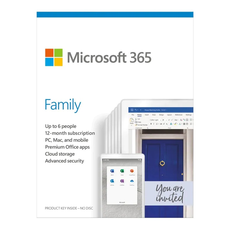 Microsoft Office 365 Family 6 Users 1Yr  license by email