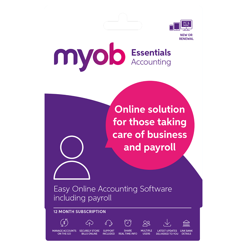 MYOB Essentials Unlimted Payroll 1yr Subscription Email key